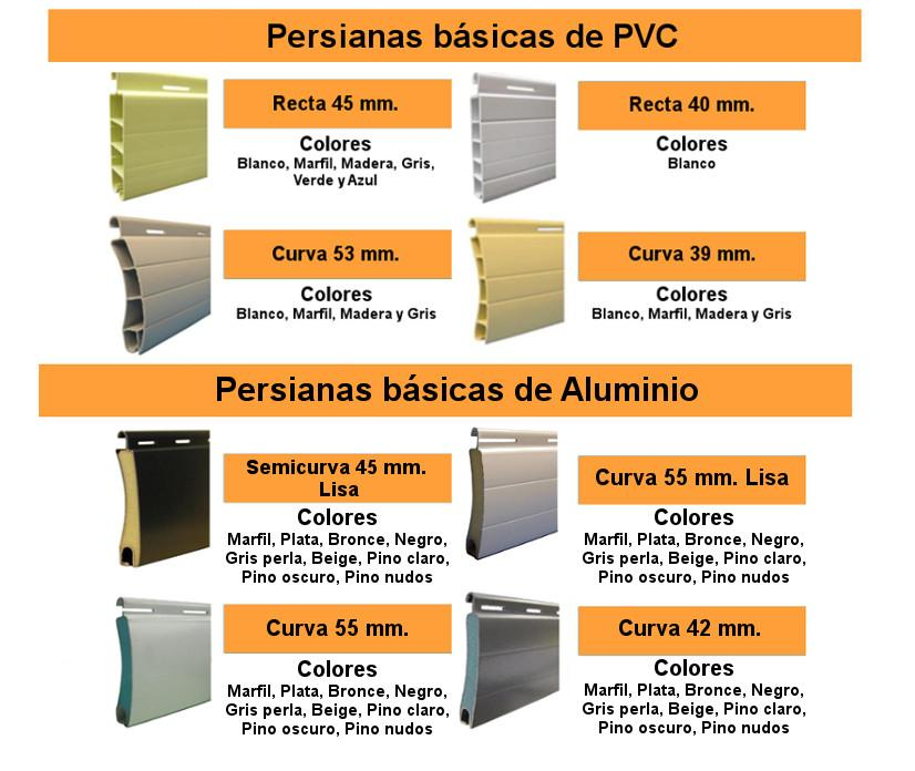 PERSIANAS BASICAS PVC Y ALUMINIO
